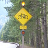 Flashing lights caution drivers about cyclists on this narrow stretch of road for 20 kms