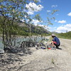 Cooking a meal by the Dietrich river, Dalton highway