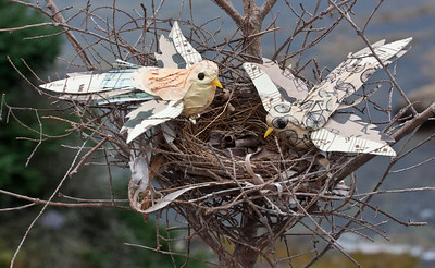 Paper birds made from antique papers sitting in a real bird's nest, Phippsburg, Maine