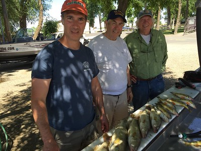 Kent, Ken, and Bill had a good day fishing with BJ's Guide Service on Potholes Reservoir.