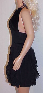 MSB Black Velvet & Vertical Ruffle Halter Dress side