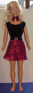 MSB Black Velvet w Red Sheer Top & Skirt full