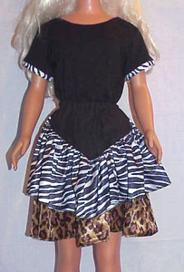 MSB Zebra & Leopard Tiered Skirt w Yoke & Top front