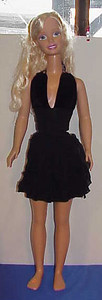 MSB Black Velvet & Vertical Ruffle Halter Dress full