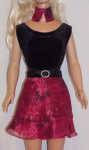 MSB Black Velvet w Red Sheer Top & Skirt front