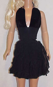 MSB Black Velvet & Vertical Ruffle Halter Dress front
