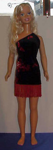 MSB Black Velour w Red Fringe Dress full