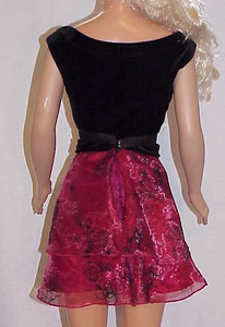 MSB Black Velvet w Red Sheer Top & Skirt back