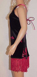 MSB Black Velour w Red Fringe Dress other side