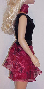 MSB Black Velvet w Red Sheer Top & Skirt side