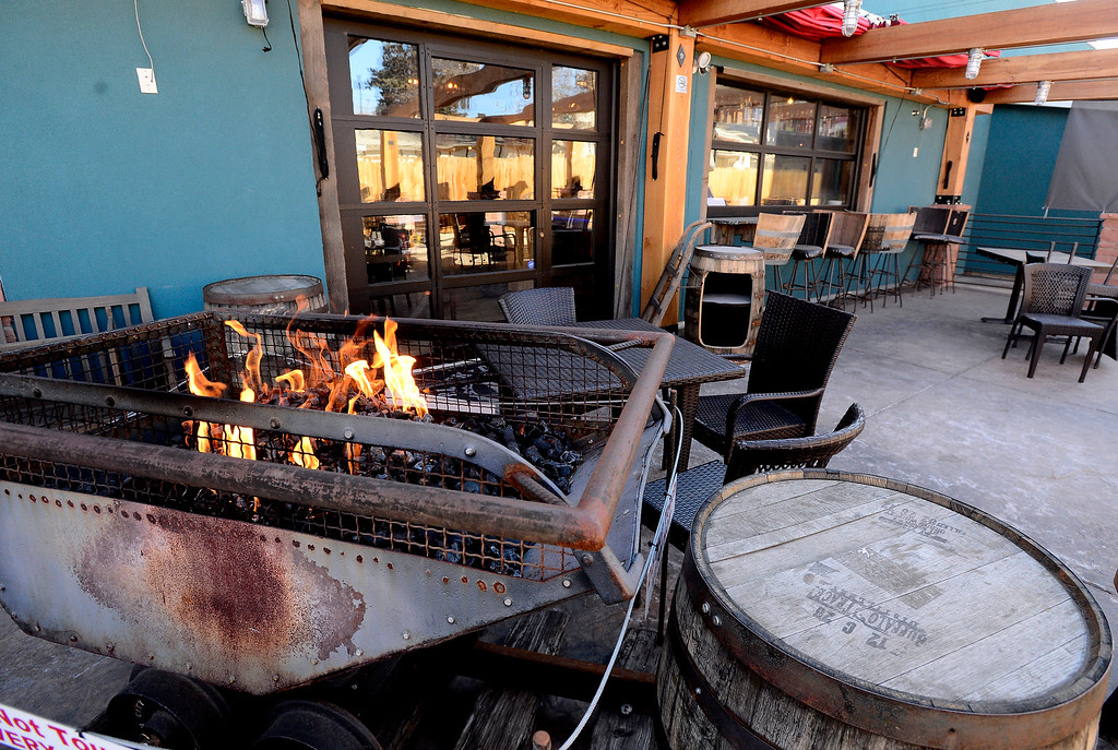. An old authentic mine coal car is now the heater on the open deck at the Black Diamond restaurant in Lafayette on Tuesday March 6, 2018. Paul Aiken Staff Photographer March 6 2018