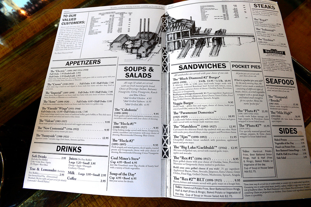 . The menu at the Black Diamond restaurant in Lafayette on Tuesday March 6, 2018. The menu items are mostly named after actual mines with the mine active date marked in the menu. The menu with some exemptions is the same menu as the original Black Diamond restaurant that was based in Louisville.  Paul Aiken Staff Photographer March 6 2018