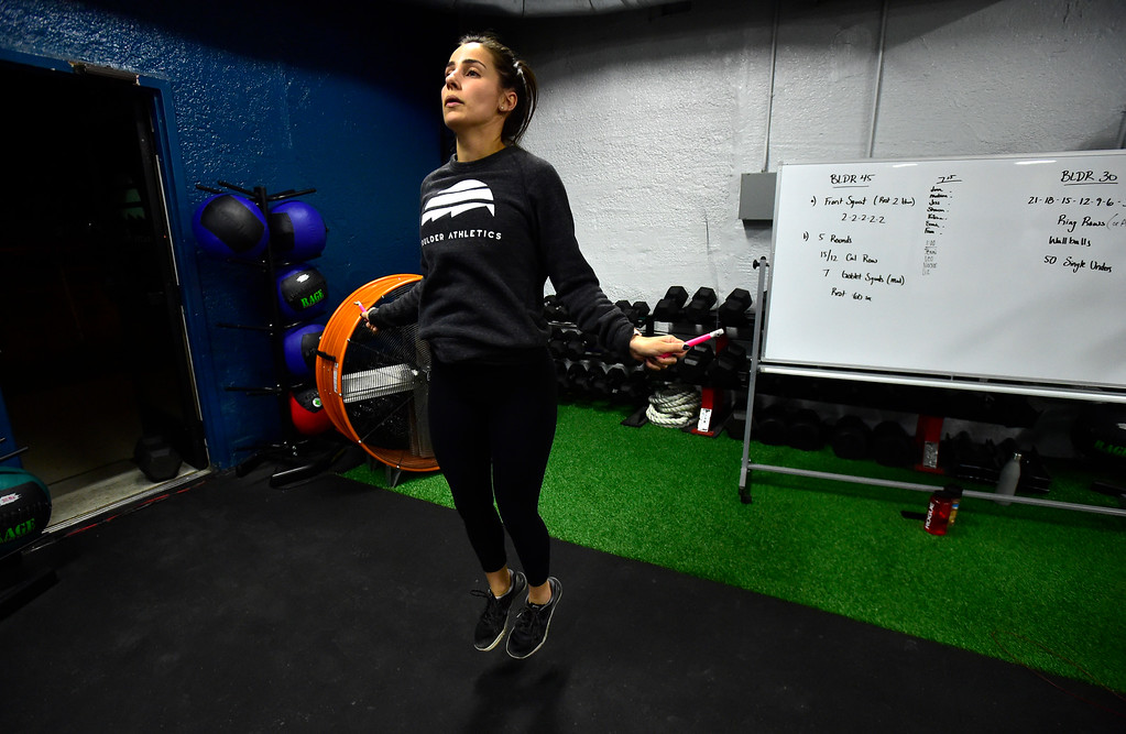 . BOULDER, CO. NOVEMBER 14, 2018 Kelsey Roberts in the Jump Rope section of the BLDR30 workout at Boulder Athletics in Boulder on Wednesday.  For more photos go to dailycamera.com  (Photo by Paul Aiken/Staff Photographer)