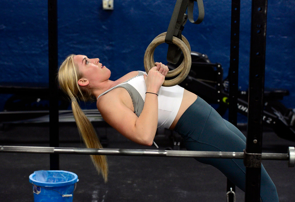 . BOULDER, CO. NOVEMBER 14, 2018 Kenzie Woods performs Ring Rows as part of the BLDR30 workout at Boulder Athletics in Boulder on Wednesday.  For more photos go to dailycamera.com  (Photo by Paul Aiken/Staff Photographer)