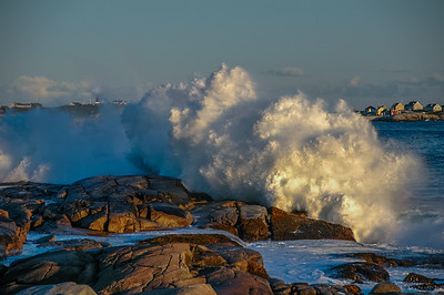 The surfs up at Peggy's Cove as hurricane Florence passes by the coast of Nova Scotia
