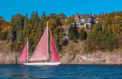 The Elsie, Alexander Graham Bell's restored sailboat, under sail on the Bras d'Or Lake at Baddeck
