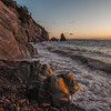 Sunset scenes at a beach near Cap Rouge in Cape Breton Highlands National Park