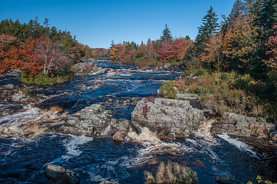 Autumn foliage along the West River in Sheet Harbour on the eastern shore of Nova Scotia.