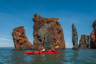 A kayaking trip with Werner and Else Marie of NorthShores Adventures to the Three Sisters and other rock formations along the Bay of Fundy shore at Cape Chignecto Provincial Park