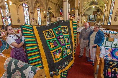 A  quilt display in the Acadian church in the fishing community of West Pubnico. The display is one of the events on the annual Acadian festival