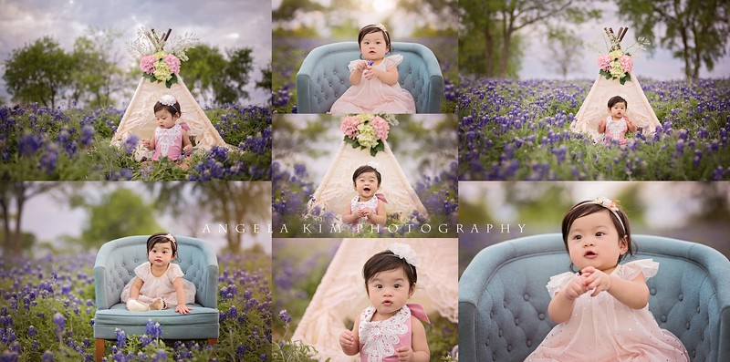 1 year baby portraits in the bluebonnets