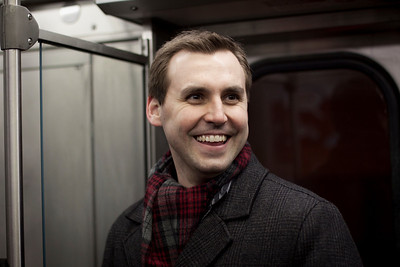 Blake Dondlinger on the Metra in Chicago, Illinois on February 19, 2011.  (Jay Grabiec)