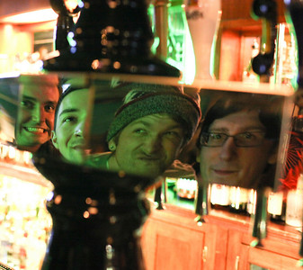 Blake Dondlinger, John Condic, Colin McAuliffe and Corey Grabiec sitting at the bar in Schubas Tavern in Chicago, Illinois on February 19, 2011.  (Jay Grabiec)