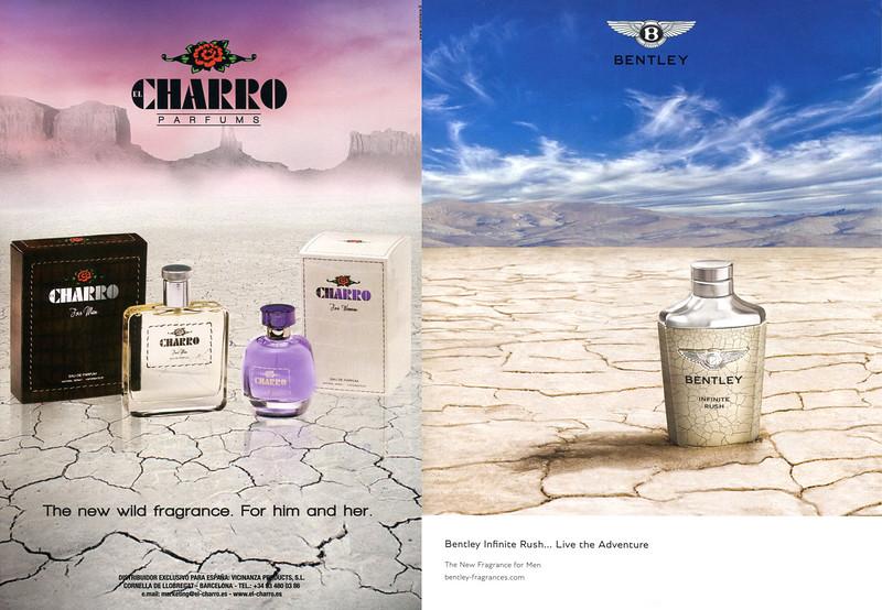 CHARRO fragrances ad (2010) vs BENTLEY Infinite Rush fragrance ad (2016)