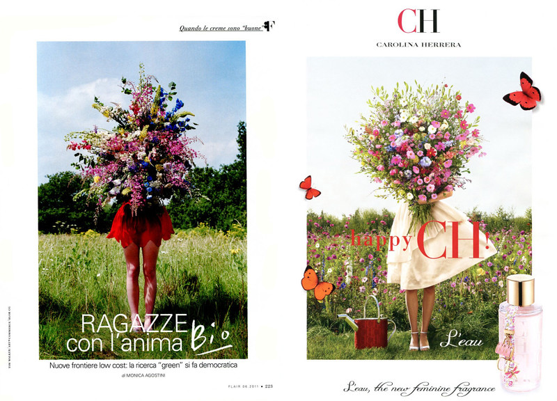 Photograph by Tim Walker vs CAROINA HERRERA CH L'Eau fragrance ad photoraphed by Koto Bolofo (2011)