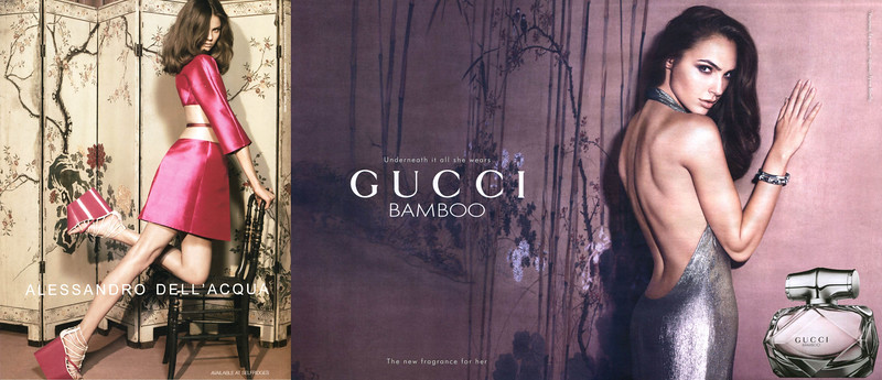 GUCCI Bamboo 2016 Russia spread (handbag size format) 'Underneath it all she wears Gucci Bamboo - The new fragrance for her' (vertical line in Russian)