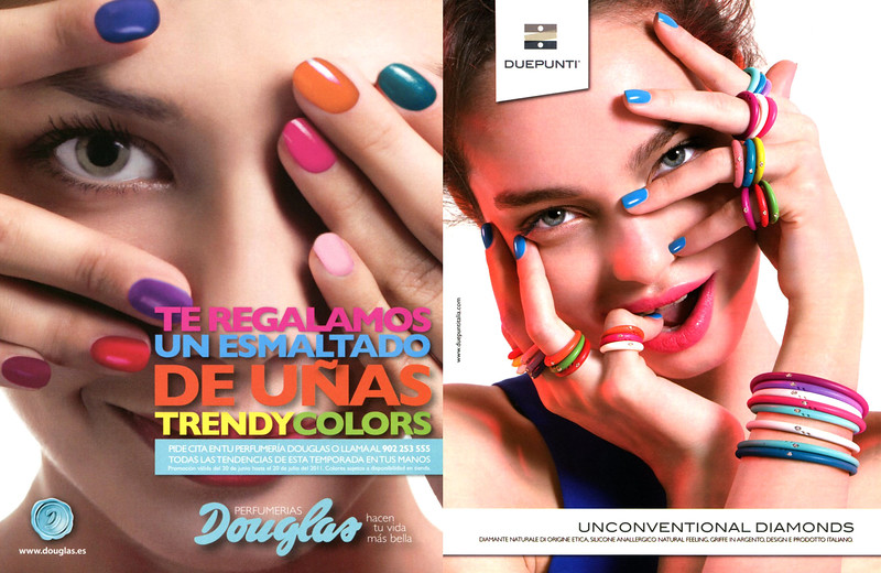 2011 DOUGLAS nail lacquers ad from Spain vs 2012  DUEPUNTI jewellers ad from Italy