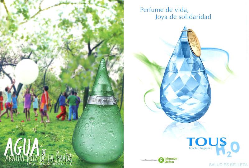 Agua by AGATHA RUIZ DE LA PRADA Eau de Toilette ad (2003, Spain) vs TOUS H2O fragrance ad (2009, Spain)