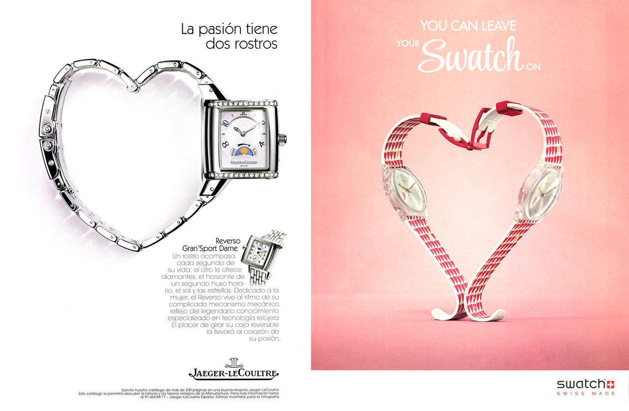 2002 JAEGER vs 2018 SWATCH watches ads