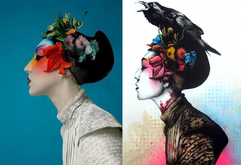 Photo unknown author vs urban art by Fin DAC