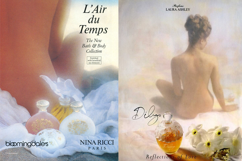 NINA RICCI L'Air du Temps 1987 fragrance ad by David Hamilton vs LAURA ASHLEY Dilys 1992 fragrance ad