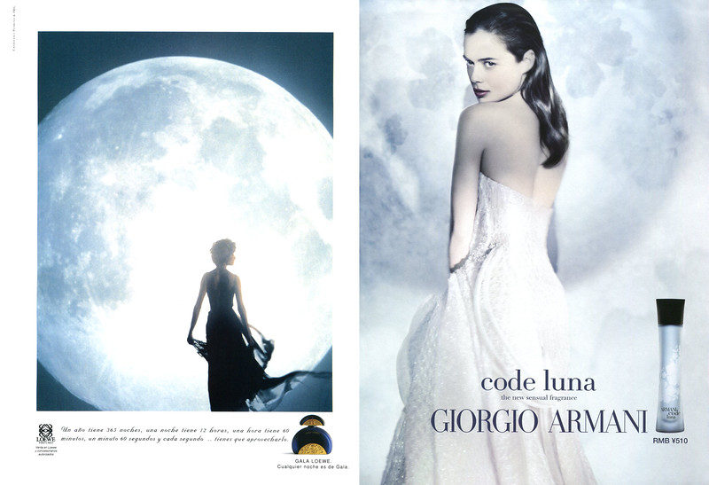 1994 Gala de lLOEWE by Ramon Eguiguren &  Anton Eguiguren; vs 2012 GIORGIO ARMANI Code Luna by Paolo Roversi fragrance ads