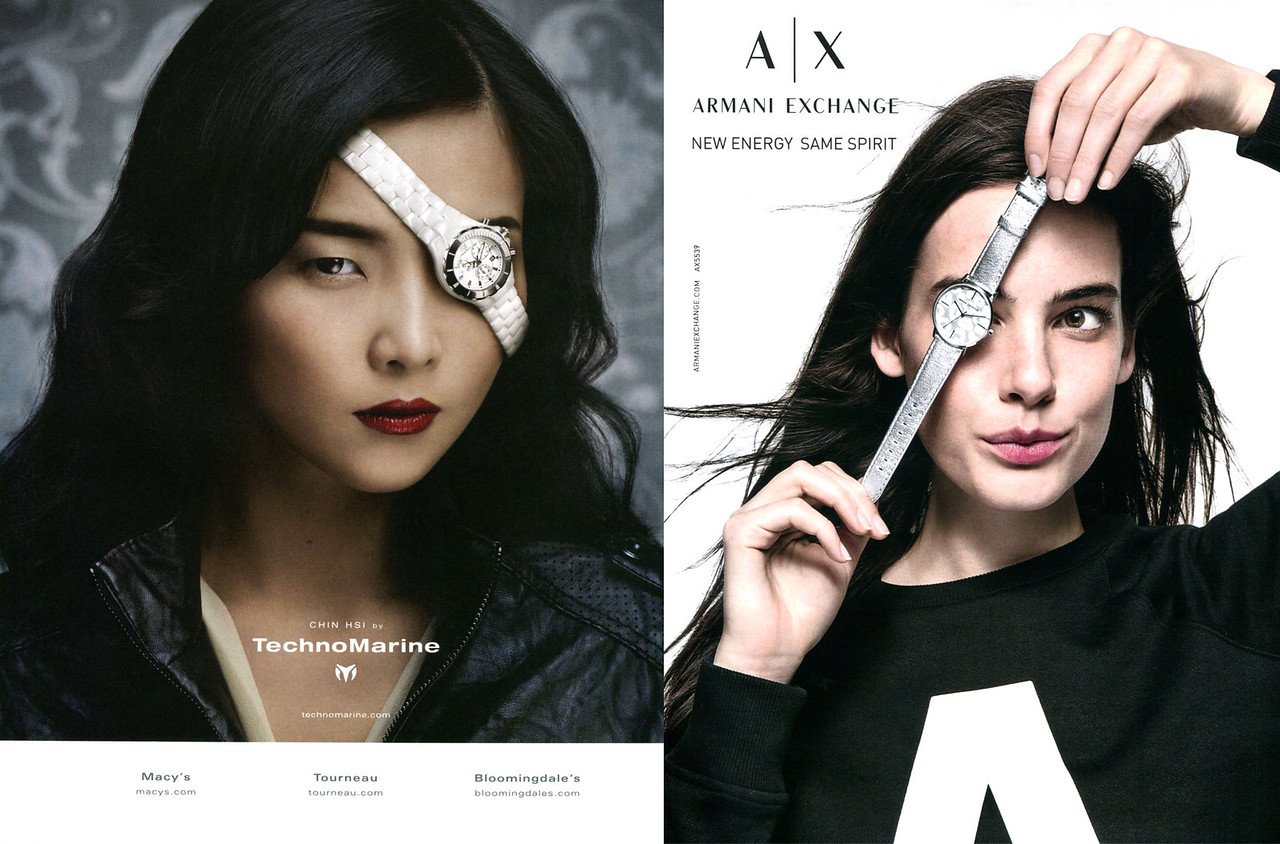 2011 TECHNOMARINE ad from US vs 2017 ARMANI Exchange watches ad from UK