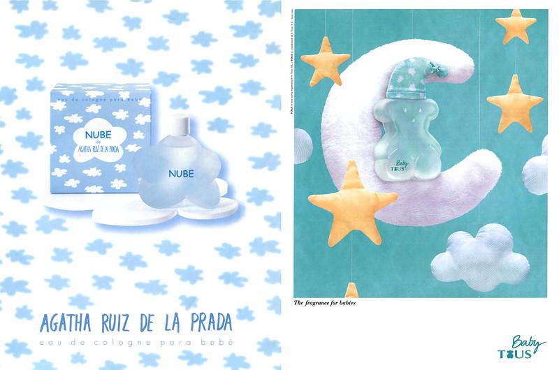 Nube by AGATHA RUIZ DE LA PRADA baby cologne ad (2002, Spain) vs Baby TOUS baby cologne ad (2014, Spain)