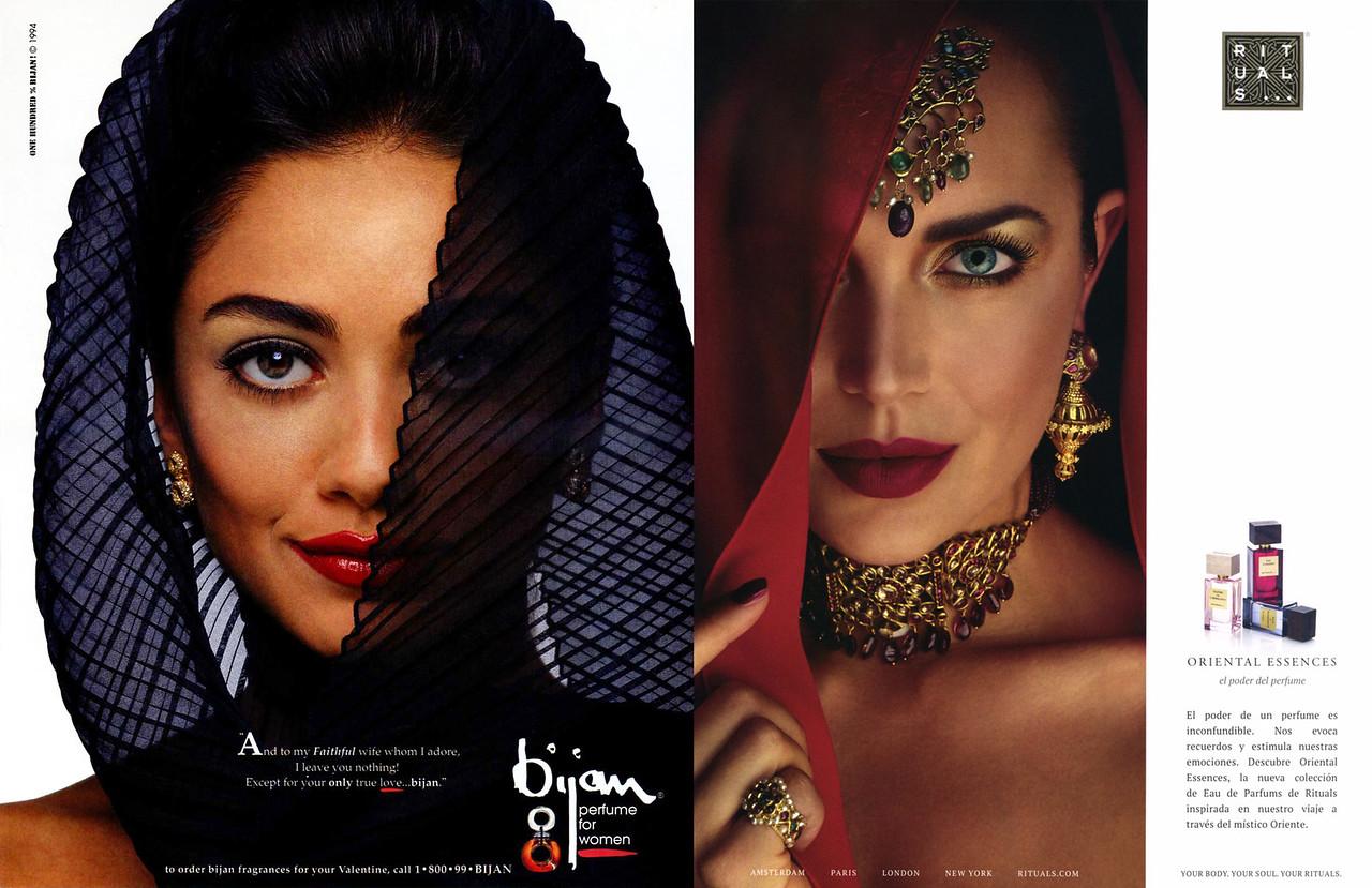 BIJAN for Women US fragrance ad (1994) vs RITUALS Oriental Essencesfragrances ad (2016)