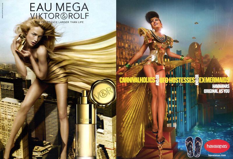 2009 VIKTOR & ROLF Eau Mega fragrance ad from UK vs 2012 HAWAIANAS sandals ad from US