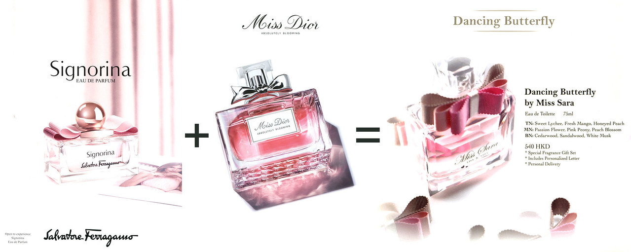 2015 MISS SARA Dancing Butterfly fragrance design inspiration sources (Signorina by SALVATORE FERRAGAMO & Miss DIOR