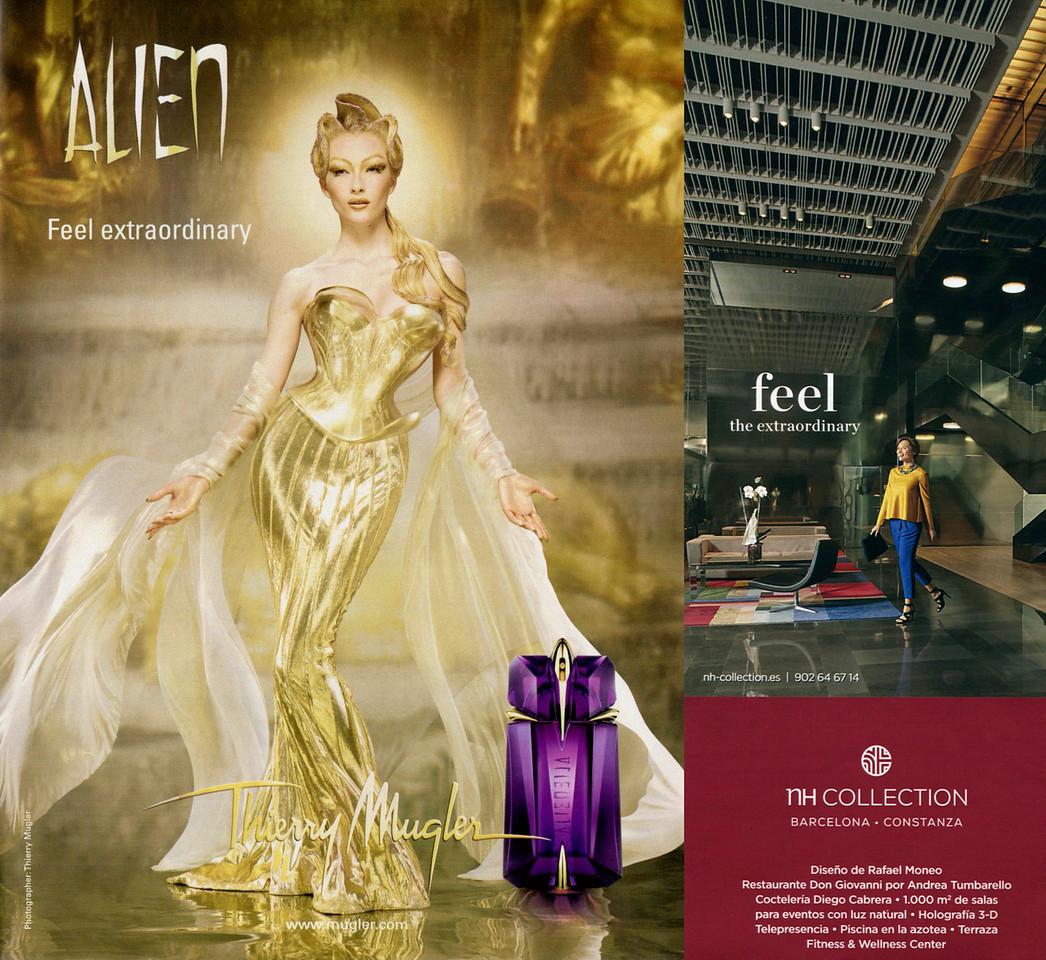 2011 Alien by THIERRY MUGLER fragrance ad 'Feel extraordinary' vs 2015 TH hotels ad 'Feel the extraordinary'