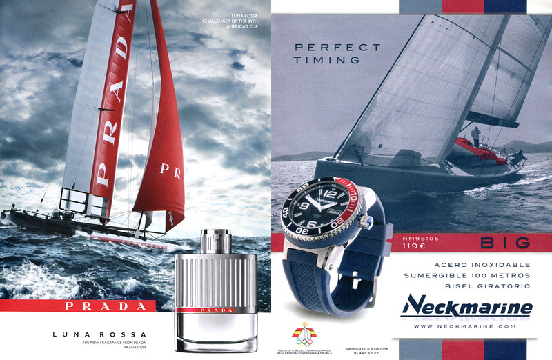 2013  PRADA Luna Rossa cologne ad vs 2014 NECKMARINE watches ad from Spain