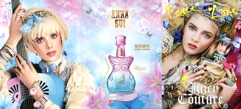 Rock Me! Summer of Love by ANNA SUI (spring 2010) vs Peace, Love, JUICY COUTURE 2010  fragrance ads
