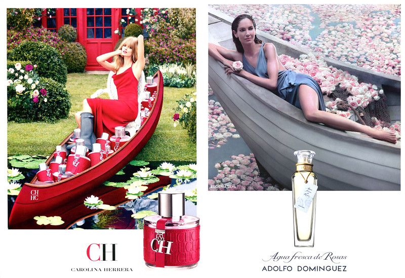 2012 CAROLINA HERRERA CH fragrance ad vs 2015 ADOLFO DOMÍNGUEZ Agua Fresca de Rosas fragrance ad
