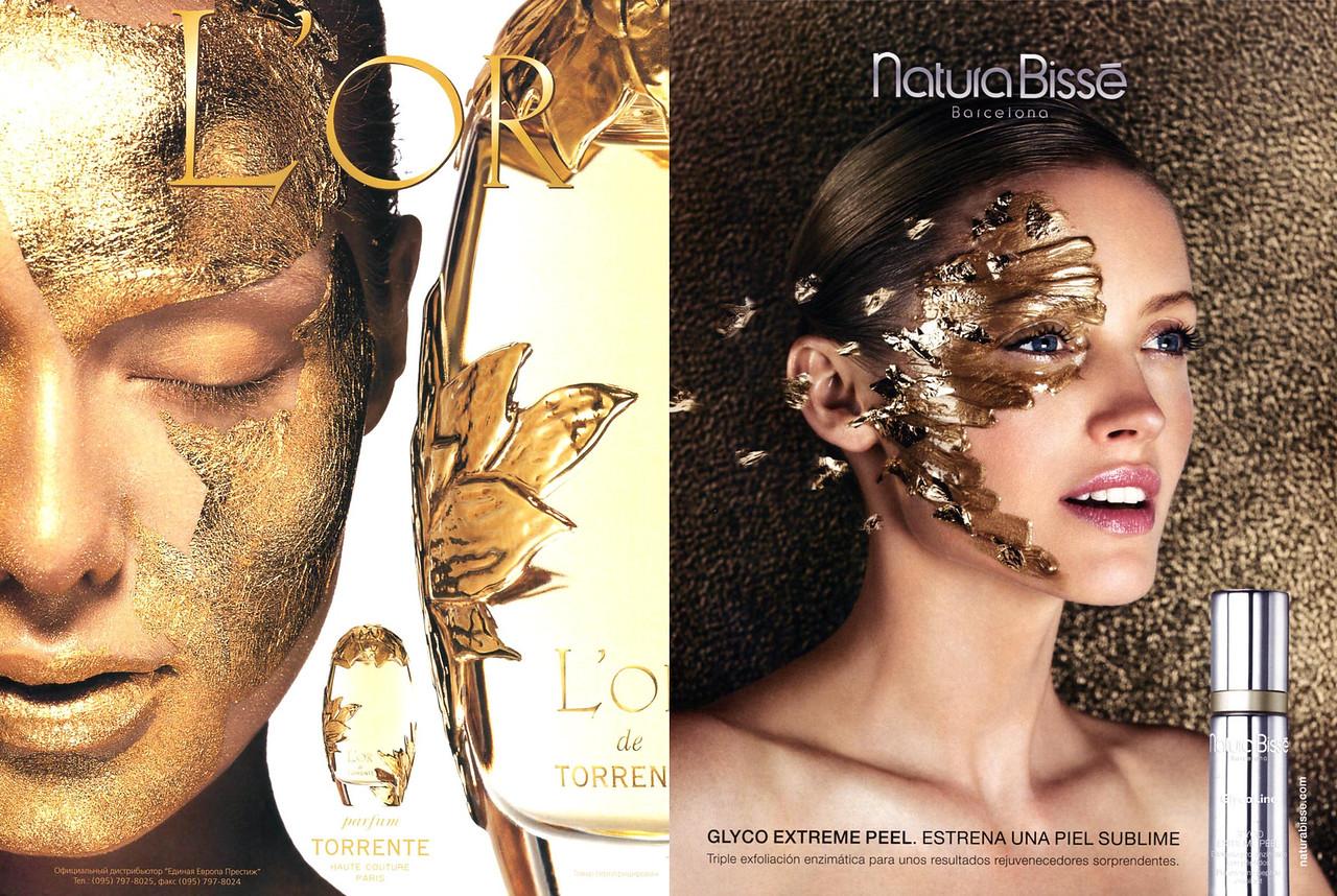 2002 TORRENTE L'Or fragrance ad vs 2016 NATURA BISSÉ Glyco Extrene Peel skin treatment ad
