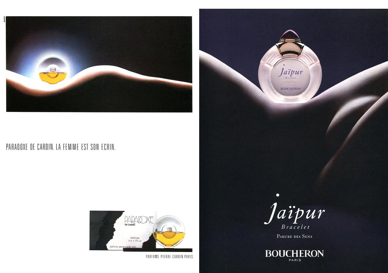 BOUCHERON JaÏpur Bracelet fragrance ad (2012) vs PIERRE CARDIN Paradoxe fragrance ad (1983)