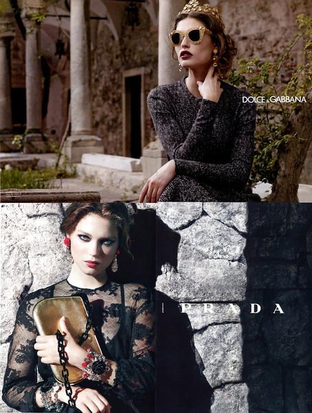 DOLCE & GABBANA ad vs PRADA resort 2012 collection ad