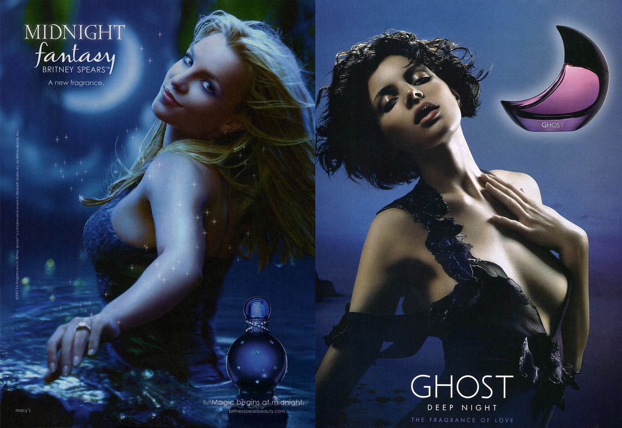 2006 BRITNEY SPEARS Midnight Fantasy (USA) vs 2007 GHOST Deep Night (UK) fragrance ads