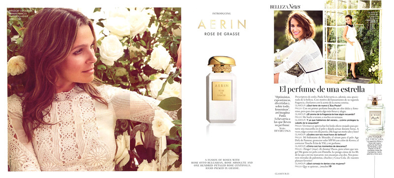 2015 AERIN Rose de Grasse fragrance ad from USA vs 2016 Paula L'Eau by PAULA ECHEVARRÍA fragrance advertorial from Spain